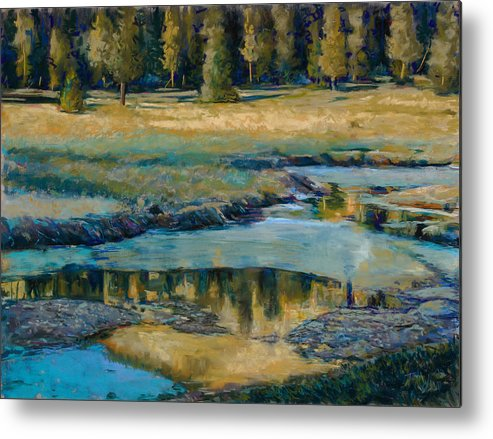 River Metal Print featuring the painting Frozen Reflections by Billie Colson