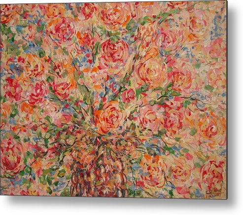Flowers Metal Print featuring the painting Full Bouquet. by Leonard Holland