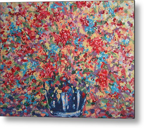 Flowers Metal Print featuring the painting Full Flower Bouquet. by Leonard Holland