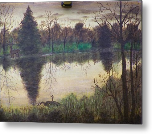 Landscape Metal Print featuring the painting Geese At Sunrise by Charles Vaughn