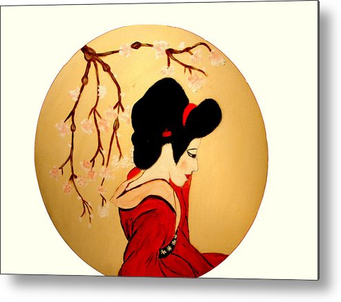 Geisha Girls Metal Print featuring the painting Geisha Girl by Rusty Gladdish