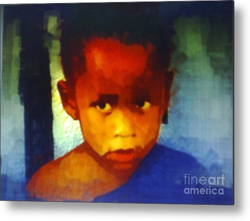 Ghanaian Child Metal Print featuring the painting Ghana Boy by Deborah Selib-Haig DMacq