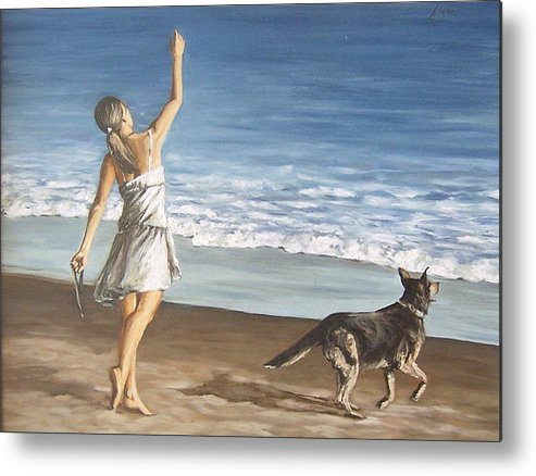 Portrait Girl Beach Dog Seascape Sea Children Figure Figurative Metal Print featuring the painting Girl And Dog by Natalia Tejera
