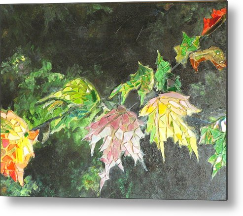 Acrylic Metal Print featuring the painting Glistening Fall by Cynthia Ann Swan
