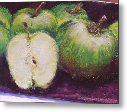 Still Life Metal Print featuring the painting Gods Little Green Apples by Karla Phlypo-Price