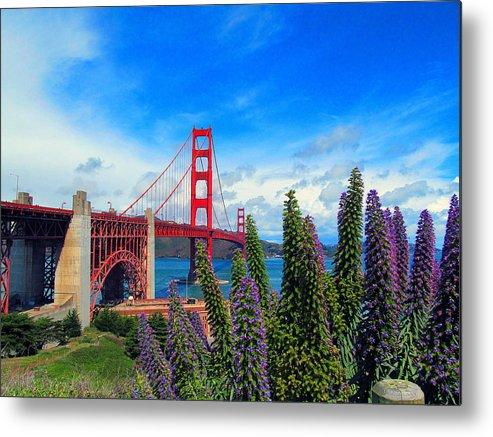 Golden Gate Bridge Metal Print featuring the photograph Golden Gate Bridge Five by Tina M Wenger