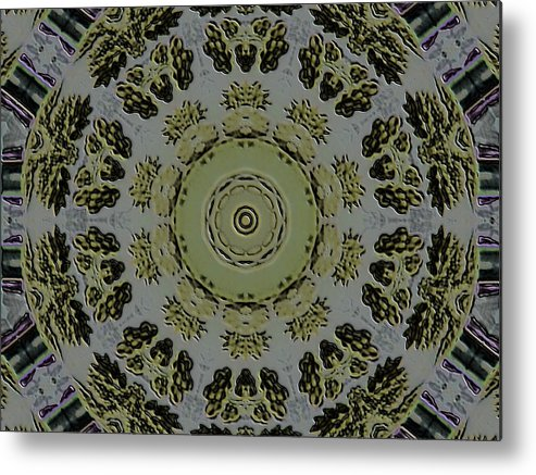 Stone Metal Print featuring the digital art Mandala In Pewter And Gold by Jodi DiLiberto