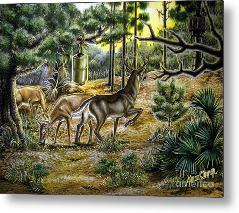 Deer Metal Print featuring the painting Golden Opportunity by Monica Turner