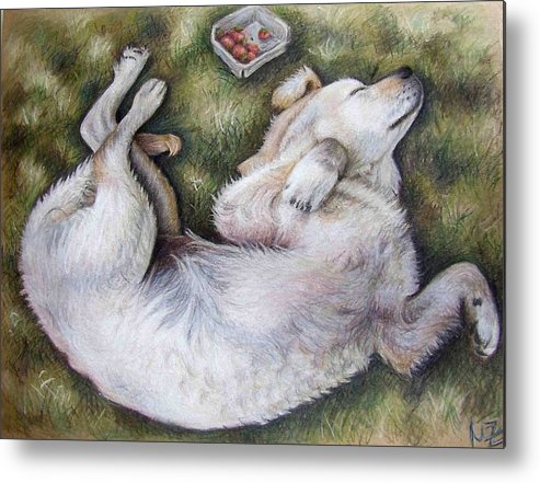 Dog Metal Print featuring the pastel Golden Retriever Puppy by Nicole Zeug