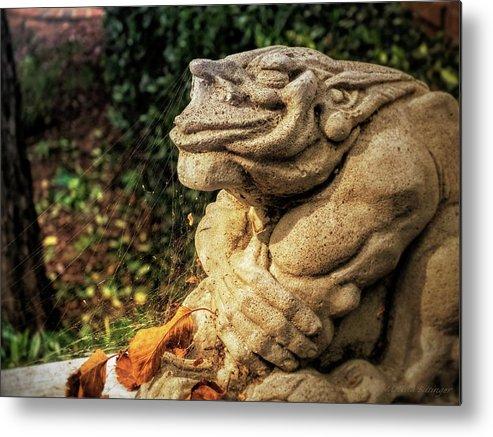Gargoyle Metal Print Featuring The Photograph Gothic Garden Gargoyle Statue  Spider Webs By Melissa Bittinger