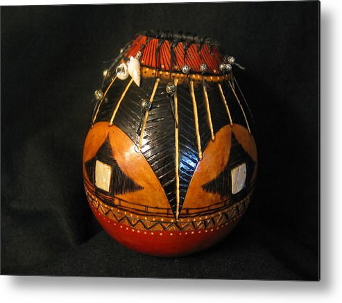 Gourd Metal Print featuring the mixed media Gourd With Abalone by Deborah Hildinger