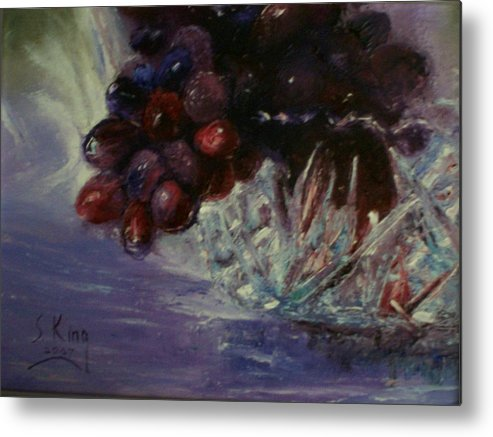 Still Life Metal Print featuring the painting Grapes And Glass by Stephen King