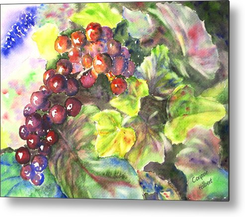 Grapes Metal Print featuring the painting Grapes by Corynne Hilbert