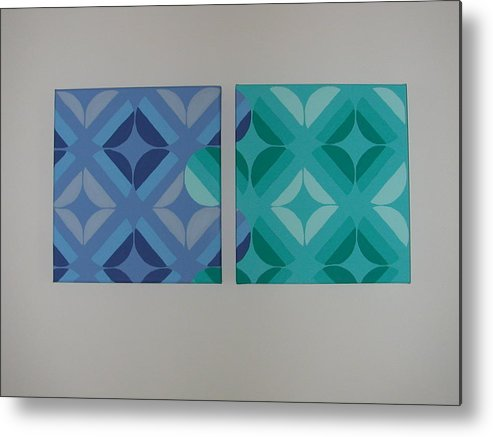 Two Piece Painting Metal Print featuring the painting Green And Blue With Envy by Gay Dallek