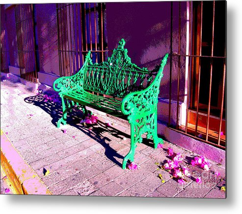 Michael Fitzpatrick Metal Print featuring the photograph Green Bench By Michael Fitzpatrick by Mexicolors Art Photography