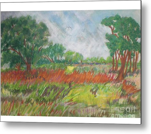 Landscape Metal Print featuring the pastel Green Fields Of Spring by Hal Newhouser