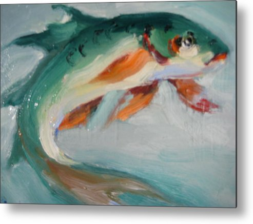 Fish Metal Print featuring the painting Green Fish by Susan Jenkins