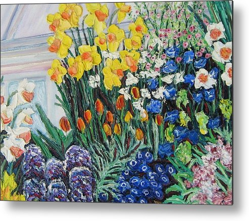 Flowers Metal Print featuring the painting Green House Flowers by Richard Nowak