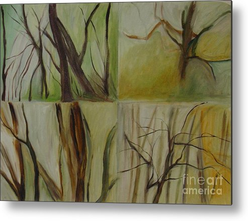 Spring Young Trees Saplings Trees Metal Print featuring the painting Green Sonnet by Leila Atkinson