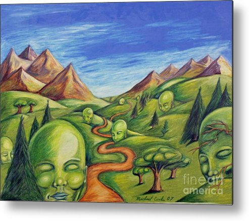 Green Surreal Landscapes Metal Print featuring the drawing The Journey by Michael Cook