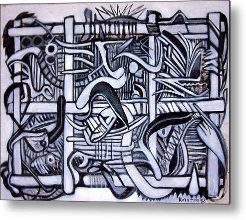 Abstract Black White Metal Print featuring the painting Grid by Dave Kwinter