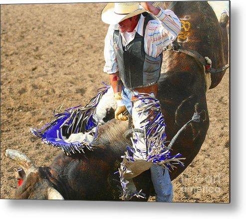Art Metal Print featuring the photograph Gripping Bull Rider ... Montana Art Photo by GiselaSchneider MontanaArtist