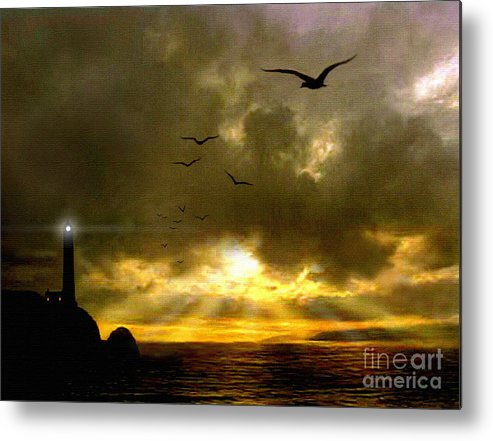 Seascape Metal Print featuring the painting Gull Flight by Robert Foster