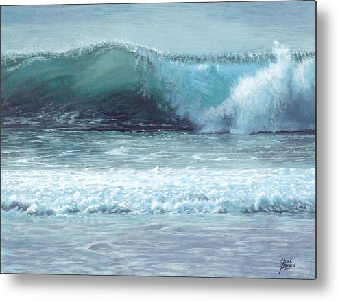 Beach Metal Print featuring the painting Half Moon Bay by Elaine Bawden