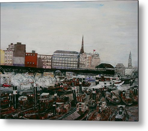 Habour Metal Print featuring the painting Hamburg by Klaus Rach