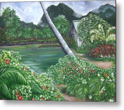 Tropical Gardenscape Metal Print featuring the painting Hanalei Kanaka House by Laura Johnson