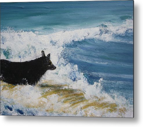 Surfing Metal Print featuring the painting Hang What Where. by Laura Johnson