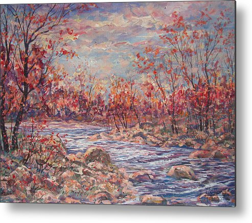 Landscape Metal Print featuring the painting Happy Autumn Days. by Leonard Holland