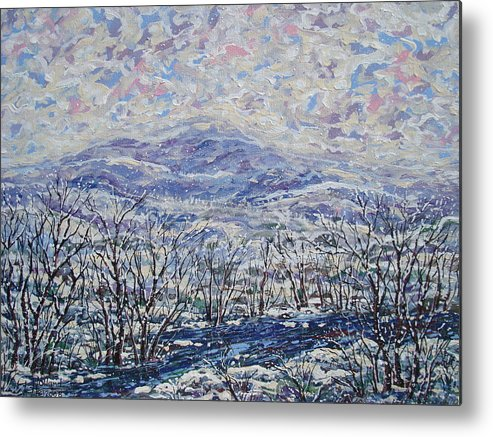 Landscape Metal Print featuring the painting Happy Winter. by Leonard Holland