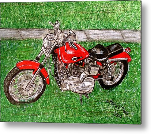 Harley Metal Print featuring the painting Harley Red Sportster Motorcycle by Kathy Marrs Chandler