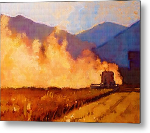Field Metal Print featuring the painting Harvest Time by Robert Bissett
