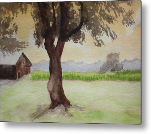Landscape Metal Print featuring the painting Hatch Farm Alto Michigan by Warren Thompson