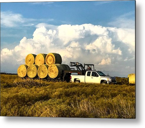Hay Metal Print featuring the photograph Hauling Hay Bales by Jeanie Mann