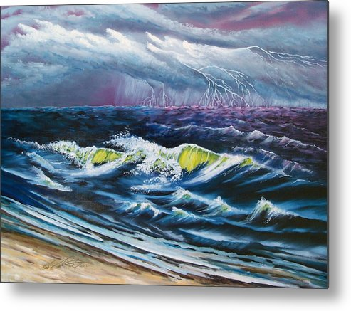 Landscape-seascape-weather Metal Print featuring the painting Heat Storm by Dennis Vebert