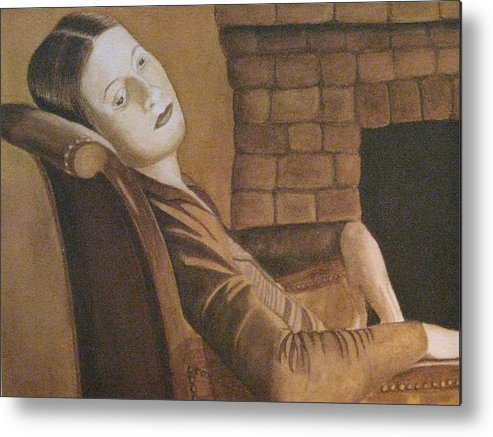 Portrait Metal Print featuring the painting Helen by Barbara Pascal