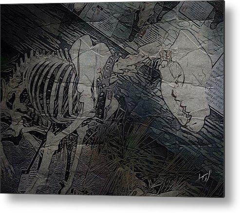 Dog Skeleton Weird Noir Horror Dark Terror Nightmare Metal Print featuring the digital art Hellhound by J Wagner