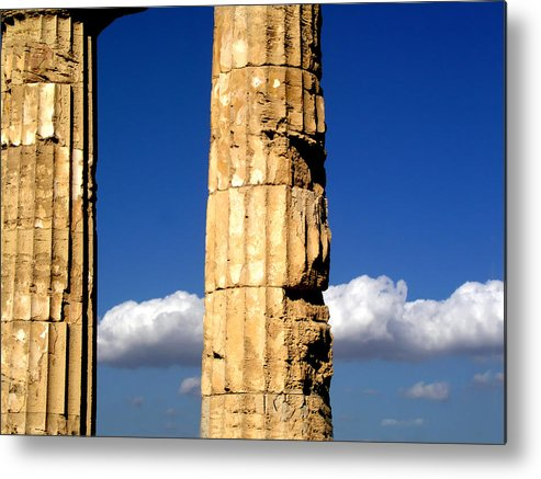 Cloud Metal Print featuring the photograph Hera Temple - Selinunte - Sicily by Silvia Ganora