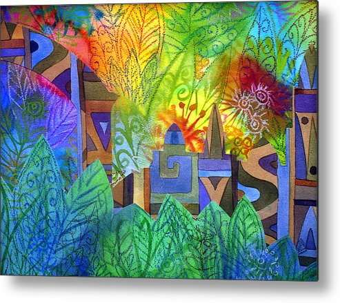 Jungle Mysterious Tropical Lost City Caribbean Bright Colours Metal Print featuring the painting Hidden City by Jennifer Baird