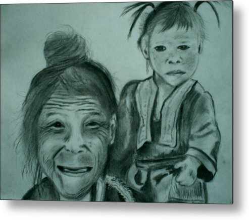 Hill Tribe Metal Print featuring the drawing Hill Tribe Lady And Child by Colin O neill