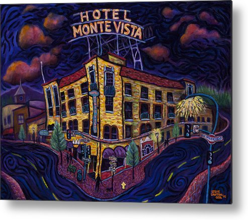 Historic Metal Print featuring the painting Historic Monte Vista Hotel by Steve Lawton