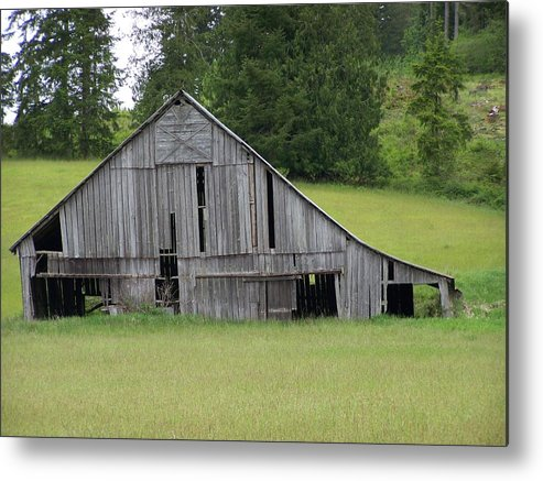 Barn Metal Print featuring the photograph Holey Old Barn Washington State by Laurie Kidd