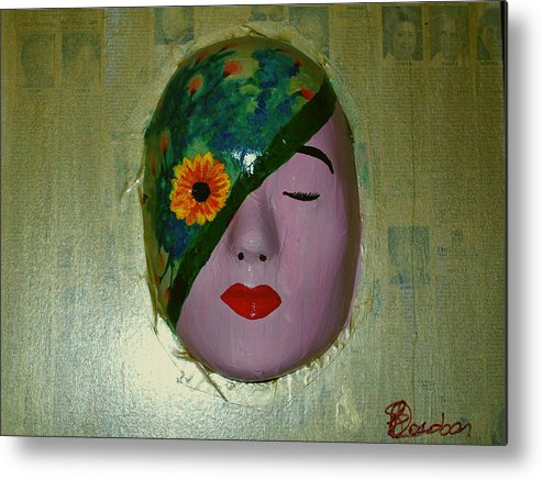 Gold Metal Print featuring the painting Homage One by Laurette Escobar