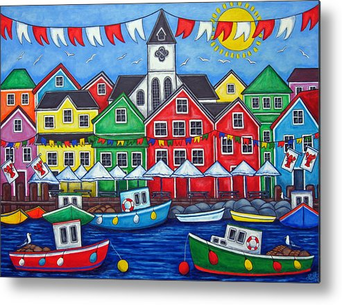 Boats Canada Colorful Docks Festival Fishing Flags Green Harbor Harbour Metal Print featuring the painting Hometown Festival by Lisa Lorenz