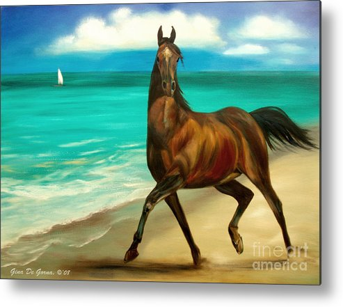 Horse Metal Print featuring the painting Horses In Paradise Dance by Gina De Gorna