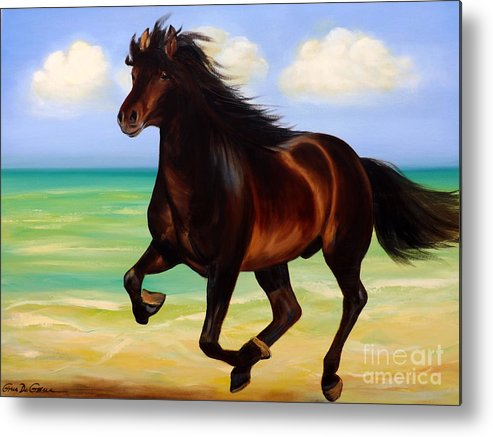 Horses Metal Print featuring the painting Horses In Paradise Run by Gina De Gorna