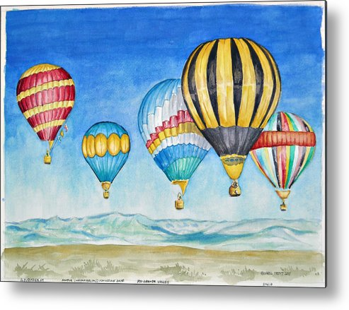 Sandia Metal Print featuring the painting Hot Air Balloons Over Sandia by Michael Prout